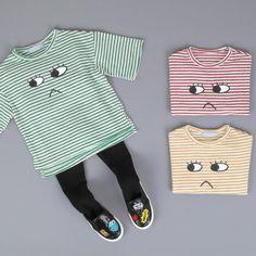 37291de681859 新作ブブオルブセレクト-キョロキョロアイボーダー半袖Tシャツ - 韓国子供服