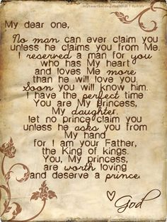 I need to hang this in my room so i know that God is looking out for me. If i had this hanging my room, I would also know that God has the perfect guy for me and to be patient because he will send him to me when he thinks I'm ready for my perfect guy. The Words, Love Me More, My Love, Adonai Elohim, Quotes To Live By, Me Quotes, Qoutes, Quotations, Faith Quotes