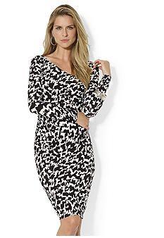 Lauren Ralph Lauren Long-Sleeved Asymmetrical V-Neckline Dress #worklife