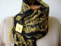 Excited to share the latest addition to my #etsy shop: Felted scarf women yellow felt scarf handmade winter fashion neckwarmer merino wool scarf natural wool felt wearable art festival collar https://etsy.me/2wVZCfA #accessories #scarf #birthday #christmas #yellow #fel