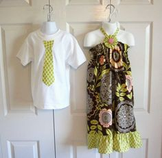 Matching Outfits Brother Sister - Girls Ruffled Halter Dress Boys Tie Onesie Tshirt - Lacework in Olive with Lime Trim - Lotus collection on Etsy, $44.00