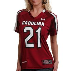 NCAA Under Armour South Carolina Gamecocks #21 Women's Replica Football Jersey - Garnet (Small) by Under Armour. $59.95. Under Armour South Carolina Gamecocks #21 Women's Replica Football Jersey - GarnetScreen print graphicsMesh & dazzle bodyImportedSide slits at hemTagless collarQuality embroideryHeatGear fabric keeps wearer dry and comfortable by wicking moisture from skinFeminine-cut to flatter a woman's bodyJock tagOfficially licensed collegiate product100% NylonNo player ...