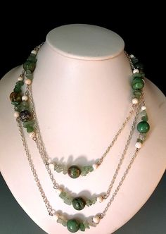 Halskette, versilbert, Silberdraht gefüllt, Handarbeit, Halbedelstein Pearl Necklace, Beaded Necklace, Schmuck Design, Designer, Jade, Pearls, Chain, Jewelry, Fashion