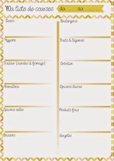 Planning repas & liste de courses #1 - Les Lubies de Caroline                                                                                                                                                     Plus