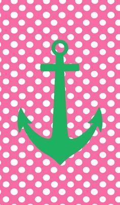 Green anchor/pink polka dots