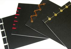 Variations of Japanese binding. Using different stitches, changing binding material and incorporating other elements.