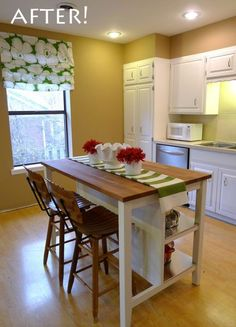 mobile kitchen island with seating and storage Possibly 4 seats - 2 in back & 1 on each end?