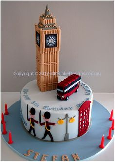 Big Ben UK Theme Novelty Birthday Cake, Novelty Cakes Sydney, Birthday Cakes, London Theme cake designs, Designer Cakes by EliteCakeDesigns Novelty Birthday Cakes, 21st Birthday Cakes, Novelty Cakes, Big Ben London, London Bus, Beautiful Cakes, Amazing Cakes, Cake Pops, Sweets