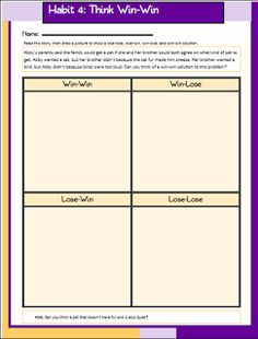 Worksheet 7 Habits Worksheets leader in me covey 7 habits and notebooks on pinterest habit 4 think win worksheet for elementary kids schools