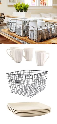 A smart idea for storage and entertaining: keep your plates and mugs organized in metal baskets!