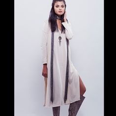 Free People maxi tunic dress Soft knit maxi dress with three quarter length sleeves. Plunging V-neckline with pleat detailing. 124J079 RETAIL: $148 ALL SIZES LISTED:  CREAM; M BLACK: S  ❤I have over 300 new with tag Free People items for sale! I love to offer bundle discounts!  ❤No trades. love the item but not the price? Submit an offer! Free People Dresses Maxi