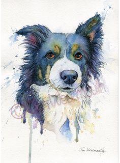 Custom pet portrait in Watercolour, pen & ink. Dog painting. Original art £90.00