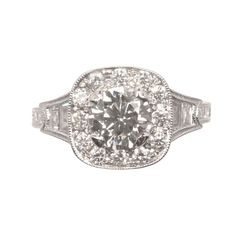 Round Diamond with Cushion Halo Engagement Ring  Zabler Design Jewelers  Reference Number: R7127