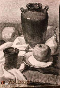 Still Life Sketch, Still Life Drawing, Still Life Art, Art Drawings Sketches, Easy Drawings, Pencil Drawings, Shading Drawing, Painting & Drawing, Figure Sketching
