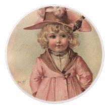 Vintage Victorian Little Girl in Hat Ceramic Knob