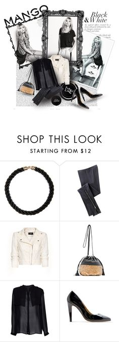 """Fashion in Motion with MANGO & Kate Moss"" by pribortolon ❤ liked on Polyvore featuring moda, MANGO, Trilogy, Old Navy, bucket bags, leather jacket e kate moss"