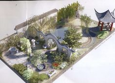 Chinese garden Design - Plan for the Chinese Moongate Garden Chelsea 2007 Zoo Architecture, Chinese Architecture, Pergola Plans, Diy Pergola, Pergola Kits, Patio Chino, Casa Dos Hobbits, Chinese Courtyard, China Garden