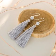 Silver Gray Long Dangling Tassel Earrings, Bridesmaids Gift for Boho Wedding Beach Wedding Bridesmaids, Bridesmaid Gifts, Boho Wedding, Wedding Flowers, Christmas Gifts For Wife, Tassel Earrings, Gray, Silver, Jewelry