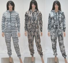 NEW WOMENS LADIES MONOCHROME SIXTIES HOODED ZIP ONESIE PATTERN PRINT LATEST 2013