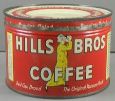 Hills Bros 1 Pound Coffee Can Advertising Tin Vintage  http://cgi.ebay.com/ws/eBayISAPI.dll?ViewItem=330735350298=ADME:L:LCA:US:1123#