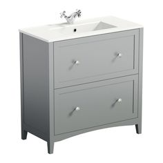 Image of Camberley Grey 800 Floor Drawer Unit & Basin White Vanity Unit, Basin Vanity Unit, Bathroom Vanity Units, Gray Vanity, Bathroom Ideas, Downstairs Bathroom, Bathroom Designs, Bathroom Inspiration, Traditional Bathroom Furniture