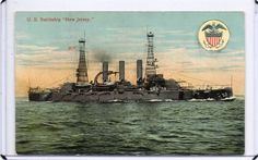 "MILITARY VESSEL,SHIP-U.S. BATTLESHIP ""NEW JERSEY"" 1906 ERA"