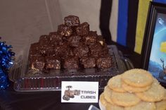 Wall E birthday party: WALL-E's trash cubes: Chocolate covered rice krispies