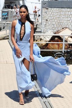 dailyactress: Chanel Iman in Cannes 15 Dresses, Blue Dresses, Dress Outfits, Formal Dresses, Presque Parfait, Chanel Iman, Cannes Film Festival, Style Icons, Style Me