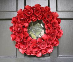 Items similar to Paper Flower Wreath- Red- Holiday on Etsy. , via Etsy. Paper Flower Wreaths, Floral Wreath, Flower Boxes, Diy Flowers, Christmas Wreaths, Christmas Crafts, Red Paper, Paper Roses, Flower Centerpieces