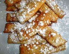 Italian Bugie Cookies (fried pastry strips) - My Grandma used to make these but she never called them Bugie.  As a matter of fact, she never called them by any name!