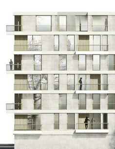 zanderroth architekten Architecture Graphics, Architecture Student, Architecture Drawings, Facade Architecture, Beautiful Architecture, Architecture Portfolio, Cladding Materials, Planer Layout, Facade Design