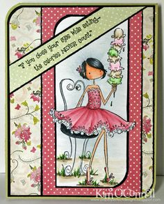 "Paper Perfect Designs by Kim O'Connell: Stamping Bella ""Uptown Girl Isabelle Loves her Ice Cream"" Funny Cards, Cute Cards, Diy Holiday Cards, Card Sentiments, Scrapbook Cards, Scrapbooking, Card Patterns, Copics, Digital Stamps"