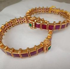 & Temple Pair of Bangles (Open Style Kada) in Silver and Gold Polish with Ruby' Traditional & Temple Pair of Bangles Open Style Kada in Gold Bangles Design, Gold Jewellery Design, Gold Jewelry, Crystal Jewelry, Bridal Jewelry, Sapphire Jewelry, Jewelry Party, Antique Jewelry, Ruby Bangles