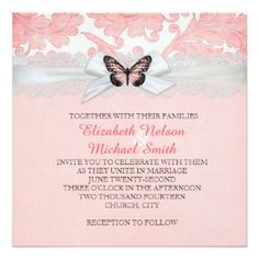 Romantic Butterfly Ribbon Damask Wedding Invite