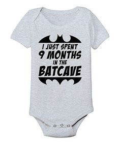 Look at this #zulilyfind! Athletic Heather '9 Months in the Batcave' Bodysuit - Infant #zulilyfinds
