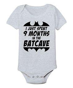 Look at this #zulilyfind! Athletic Heather '9 Months in the Batcave' Bodysuit - Infant #zulilyfinds