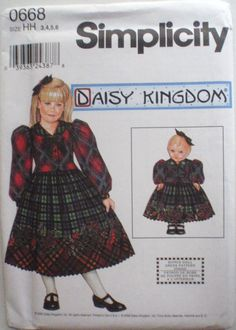 """Girl's Daisy Kingdom Dress and Dress for 18"""" Doll Sewing Pattern - Simplicity 0668, Simplicity 9359 - Sizes 3-4-5-6, Breast 22 - 25 - Uncut by Shelleyville on Etsy"""