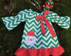 Personalized Girls Christmas Dress, Toddler Christmas Dress, Chevron Christmas Dress, Santa Dress, Girls Christmas Outfit, Toddler Christmas