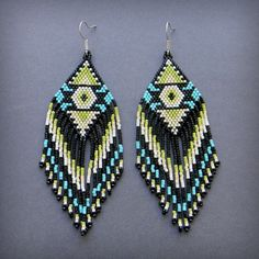 Ethnic style large seed bead earrings   sterling by Anabel27shop,