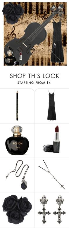 """Black Symphony"" by catherinechronicles ❤ liked on Polyvore featuring Music Notes, Revlon, Dolce&Gabbana, Christian Dior, Chan Luu, G by Guess, gothic, black violin, black and symphony"