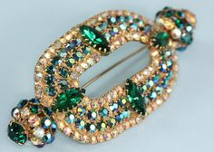 AB  and Green Rhinestone Brooch Oval Vintage by PastSplendors