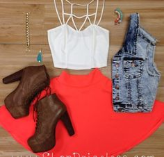 Cute & Spring. Coral Skater Skirt & Brown Lita Boots.
