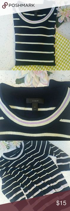 🌺🌻J.CREW SWEATER🌻🌺 In pre loved conditions.  Size S. Navy blue with mint and violet stripes.  3/4 sleeve. J. Crew Tops