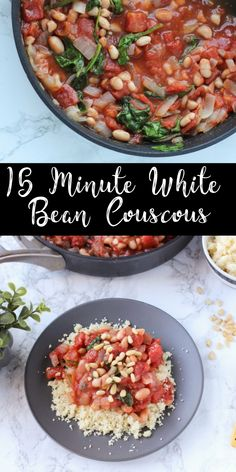 This white bean and tomato couscous recipe only requires a few pantry staples but it's a quick way to make a healthy meal! It's a fast vegan main dish that is perfect for a weeknight dinner! Lentil Recipes, Vegan Dinner Recipes, Bean Recipes, Vegan Dinners, Side Dish Recipes, Vegetarian Recipes, Healthy Recipes, Vegan Couscous Recipes, Weeknight Dinners