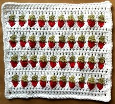 #62 Strawberries in a Row Dishcloth http://www.bestfreecrochet.com/2011/03/06/62-strawberries-in-a-row-dishcloth/
