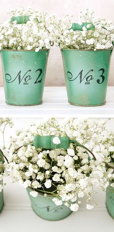 Create a simple centerpiece by arranging flowers in a vintage bucket, or set an empty pail on a greeting table to collect cards and presents. It's an easy way to tie in a color scheme or rustic theme!