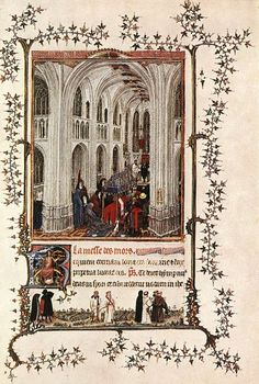 Mass of the Dead. From the Turin-Milan Hours, attributed to the anonymous Hand G, thought to be van Eyck. This work shows a very similar gothic interior to the Berlin Madonna in the Church