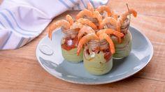 Mousse de aguacate con sorbete de tomate y langostinos - Elena Aymerich - Receta - Canal Cocina