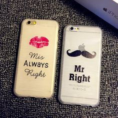 Miss alway right vs Mr Right. Tap the link in our bio to shop our #valentines couple #phonecases