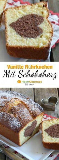 Ein einfaches Rezept für einen leckeren Vanille-Rührkuchen mit einem Herz aus Schokolade. Macht sich super am Kaffeetisch.